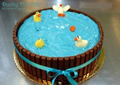 the client saw a similar cake with pigs in mud, but of course since we're in Oregon, it turned into ducks!