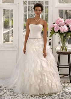 David's Bridal $899 -> $449 sample sale Strapless Organza Ball Gown with Ruffle Detail AI10011984