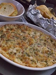 Easy Baked artichoke & spinach Parm dip just like the restaurants-but less fat! Yum!! Recipe at Facebook sandi_richard