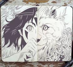 #65 Princess Mononoke by Picolo-kun Hayao Miyazaki, Sketchbook Inspiration, Art Sketchbook, Mononoke Forest, Gabriel Picolo, Studio Ghibli Movies, Marker Art, Kawaii, Art Drawings
