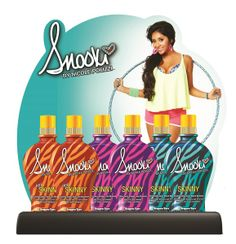 Supre Tan Snooki™ Skinny Display includes 2 full size bottles and 5 packets of each lotion PLUS a FREE display and poster!