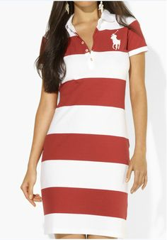 ec487183485 ralph lauren online outlet Ralph Lauren Women s Big Pony Striped Polo Dress  Red   White W