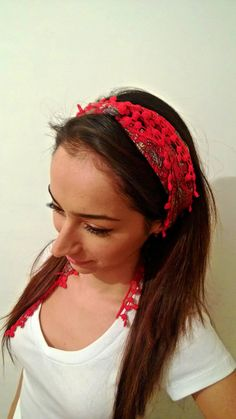 Turkish Oya Scarf  Ethnic  Bandana  headband  by CoruhHandicraft, $15.00