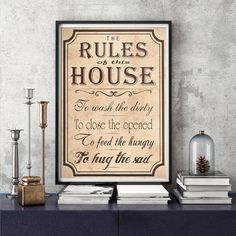 The rules of this house Wall Art PRINTABLE by BlueberryDreamDesign