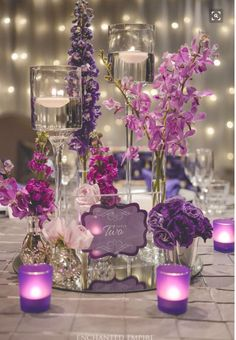 2019 Brides Favorite Purple Wedding Colors---purple and lavender wedding centerpieces with candles and flowers,vintage and luxury wedding theme for fall weddings Purple Wedding Centerpieces, Diy Wedding Flowers, Wedding Table Centerpieces, Diy Wedding Decorations, Wedding Themes, Wedding Colors, Centerpiece Ideas, Centerpiece Flowers, Diy Flowers