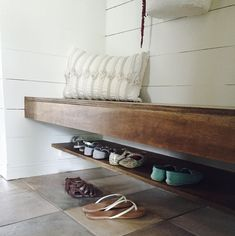Floating Shoe Shelf in mudroom. This mudroom was once a hallway closet! Shoe Shelf In Closet, Closet Bench, Hallway Closet, Front Closet, Bench With Shoe Storage, Garage Bench, Entryway Shoe Bench, Mudroom Benches, Closet Space