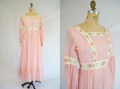 Vintage 1960s Prairie Dress / Pink / Maxi by ThriftyVintageKitten