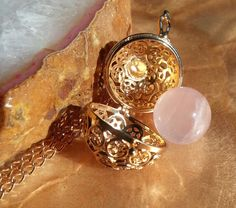 Star Round Locket Pendant with Rose Quartz Sphere Necklace By: Nina Fontana by LoveByNina on Etsy