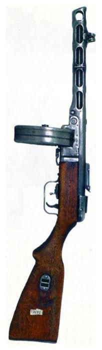 early production Shpagin PPSh-41 submachine gun, with drum magazine and tangent-type rear sight. http://www.weapon.ge/index.php?sel=1=422===4=en