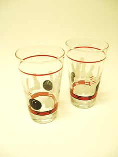 Vintage Bowling Pins and Ball Pint Glasses