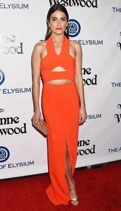 Golden Globes 2016: All the Dresses You Didn't See on the Red Carpet | People - Nikki Reed in an orange cutout Solace London dress