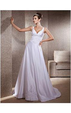A-line Appliques Deep V-neck Chapel Train Satin Wedding Dress