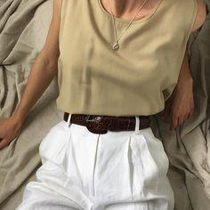 Vintage beige rayon blend box tank s-l $34 + shipping