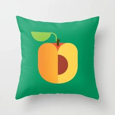 Fruit: Apricot Throw Pillow by Christopher Dina - Cover x with pillow insert - Indoor Pillow Couch Pillows, Down Pillows, Garden Nursery, Designer Throw Pillows, Pillow Design, Pillow Inserts, Hand Sewing, Whimsical, Indoor
