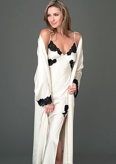 Clothes for Romantic Night - Enjoy a 'Vanilla Night' in this Le Tresor Silk Gown for an additional off. Enter at checkout. - If you are planning an unforgettable night with your lover, you can not stop reading this! Pyjama Satin, Satin Sleepwear, Night Dress For Women, Casual Dresses For Women, Clothes For Women, Silk Nightgown, Silk Gown, Dress Bra, Gorgeous Lingerie
