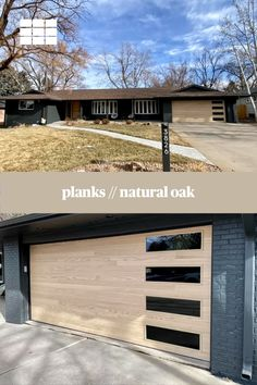 Transform your home's look and maximize curb appeal with a new garage door from the Contemporary Collection by C.H.I. Accents Woodtones provide the beauty and vibrance of real wood, with the reliability of steel. Order your free color samples today! Shown: Planks in Natural Oak. // via The Garage Door Doctor in Denver, CO Faux Wood Garage Door, Garage Door Windows, Modern Garage Doors, Windows And Doors, Black Window Frames, Types Of Insulation, Window Types, Exterior Remodel, Exterior House Colors