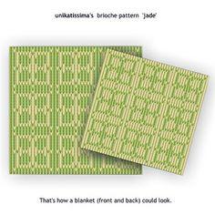 Brioche Pattern Jade - 3x3 - front and back view #knitting #brioche