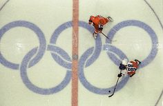 An aerial view of Jaromir Jagr in action against Russia in the 1998 Winter Olympics. Jagr and the Czech squad took the gold medal in Nagano. (David E. Klutho/SI)