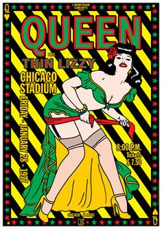 QUEEN = THIN LIZZY 28 January 1977 Chicago live show artistic by tarlotoys, €10.00