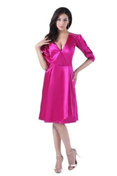Honeystore Women's V Neck Satin Middle Sleeves Knee Length Bridesmaid Dresses