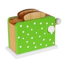 Leksaksmat - Brödrost i trä - grön med prickar i gruppen - Matleksaker & kök / Leksaksmat i trä hos Blå Elefant - Blaue Elefant (ima-1032p)
