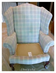 Painted Wing Chair and Update - 2 Bees in a Pod Chalk Paint Fabric, Painting Fabric Furniture, Chalk Paint Chairs, Paint Upholstery, Painted Chairs, Paint Furniture, Fabric Painting, Chair Painting, Painting Art
