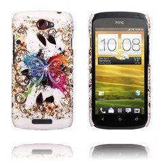 Valentine (Centrerad Regnbågsfjäril - Vit) HTC One S-Skal