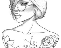 Adult coloring page fantasy girl portrait and clothes colouring sheet floral pdf printable anti-stress relaxing zentangle line art Cute Coloring Pages, Coloring Pages For Girls, Printable Coloring Pages, Coloring Sheets, Coloring Stuff, Free Coloring, Zentangle, Fierce, Coloring Pages Inspirational