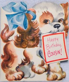 #190 50s Puppy Dog For Cousin-Vintage DIE-CUT Birthday Greeting Card