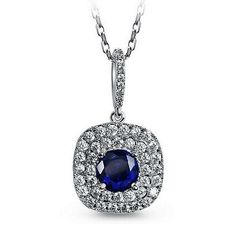 18k White Gold Filled Blue Sapphire Crystal Square Drop Bridal Necklace N133 #Unbranded #Charm #Necklaces