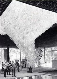 CARLO SCARPA, Monumental Poliedri chandelier at the Veneto region pavilion, the Expo Italia Fair, Turin, Italy 1961. Material crystal and metal, manufactured by Venini. Scarpa created his first version of the Poliedri-model in 1958. / Gilded Birds