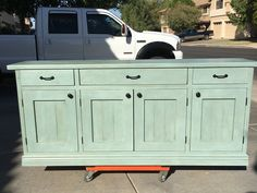 My completed sideboard. I built it. My wife chalk painted and waxed it.  Great team effort.