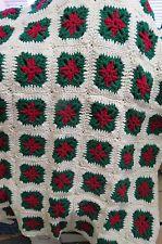 handmade granny squares crochet AFGHAN THROW BLANKET CHRISTMAS POINSETTIAS