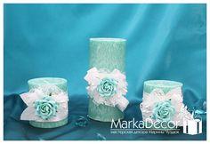 Set of 3 Wedding Unity Candle Set Bridal by MarkadecorPremium, $55.00