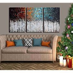 "ARTLAND Hand-Painted""Color Forest""3-Piece Gallery-Wrapped Abstract Oil Painting On Canvas Wall Art Decor Home Decoration 24x48 inches"