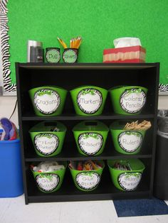 This looks like an inexpensive & attractive way to organize my classroom supplies.  The Creative Chalkboard: Classroom Tour Pictures Galore!