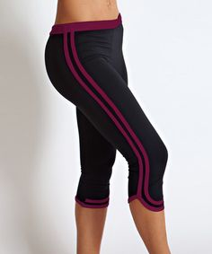 Look what I found on #zulily! Black & Red Stripe Tape Capri Leggings by Be Up #zulilyfinds
