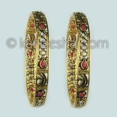 Gold Plated Polki Bangle Pair