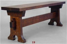Arts & Crafts bench that was made to be a counterpart to our massive Mission Keyhole Trestle table. http://www.dryadstudios.com/keyhole_trestle_table__907.htm