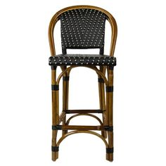"""Black & Cream Counter Height Mediterranean Bistro Bar Stool with Back (26"""" h. seat) (L)"""