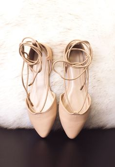 6959ff927220b5 Blanca Lace Up Ballet Flats - Nude Lace Up Ballet Flats