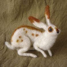 Bunny rabbit needle felted Easter basket spring decor by Ainigmati, $150.00