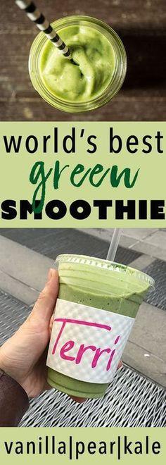 The World's Best Green Smoothie: vanilla, pear, kale! #Greensmoothie