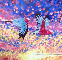 """Duet"" oils on canvas 30"" square by Mellissa Read-Devine"