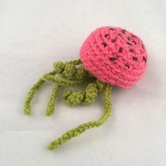 Watermelon Themed Amigurimi Jellyfish Toy
