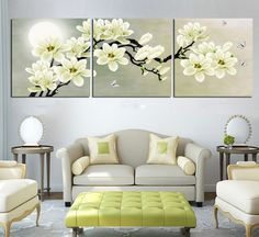 Amazon.com - Hot Sell 3 Panels 40 x 50 cm Modern Wall Painting Impressionist White Flowers Picture Home Decorative Art Picture Paint On Canvas Prints -
