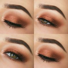 10 Easy Eye Makeup Ideas for Work Outfits As we speak we're going to inform you how one can have a easy eye make-up on your work outfits. There are 15 step-by-step eye make-up tutorials or con. Gold Eye Makeup, Makeup For Brown Eyes, Smokey Eye Makeup, Makeup Eyeshadow, Copper Eyeshadow, Smoky Eye, Makeup Brushes, Eyeshadow Palette, Makeup Remover