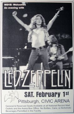 Led Zeppelin at Civic Arena February 1 1975 Concert by Innerwallz, $15.00