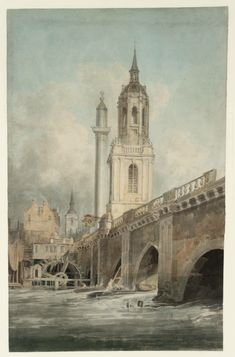 London Bridge by Turner Joseph Mallord William Turner, Old London, London Art, Art Romantique, Watercolor Landscape Paintings, Watercolour, Turner Painting, London History, Tate Britain