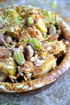 Gluten-Free Apple Pistachio Crisp -- Full of everything healthy! This makes a mean breakfast, midday snack, or dessert. Try this with coconut oil instead of the vegan butter.